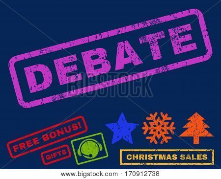 Debate text rubber seal stamp watermark with bonus new year symbols. Tag inside rectangular banner with grunge design and scratched texture.