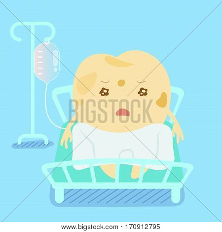 cute cartoon decay tooth lying on the bed