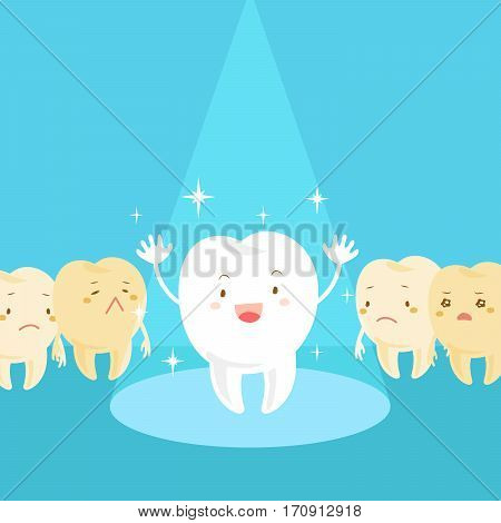 cartoon health and sick tooth with spot light