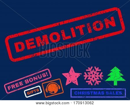 Demolition text rubber seal stamp watermark with additional bonus christmas symbols. Caption inside rectangular shape with grunge design and unclean texture.