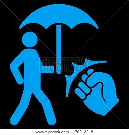 Crime Coverage vector icon. Flat blue symbol. Pictogram is isolated on a black background. Designed for web and software interfaces.