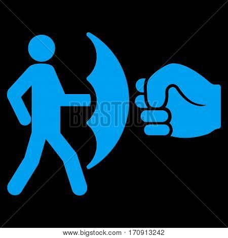 Crime Protection vector icon. Flat blue symbol. Pictogram is isolated on a black background. Designed for web and software interfaces.