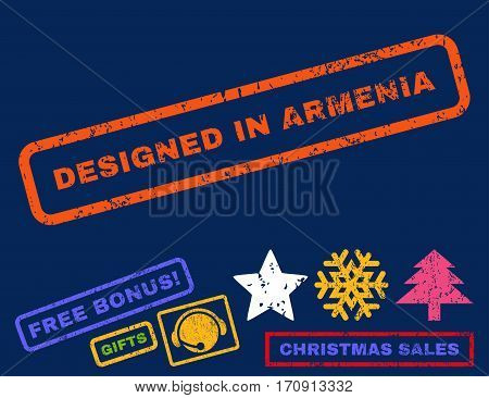 Designed In Armenia text rubber seal stamp watermark with additional bonus new year symbols. Tag inside rectangular shape with grunge design and unclean texture.