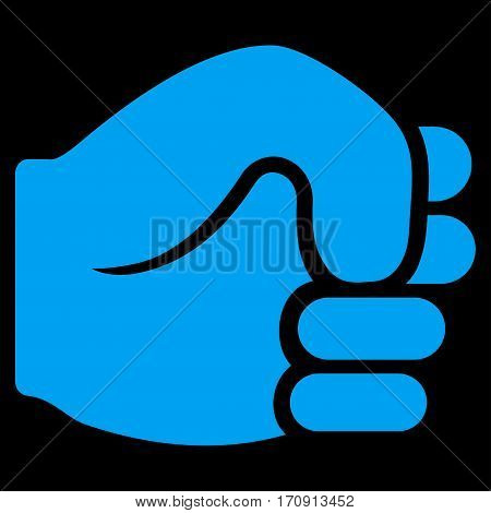 Fist vector icon. Flat blue symbol. Pictogram is isolated on a black background. Designed for web and software interfaces.