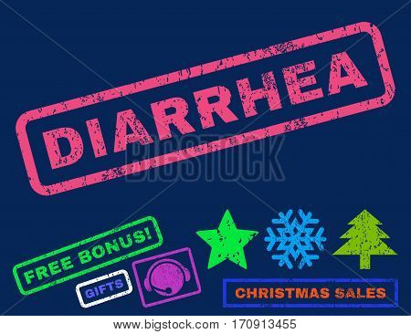 Diarrhea text rubber seal stamp watermark with bonus new year symbols. Caption inside rectangular shape with grunge design and unclean texture.