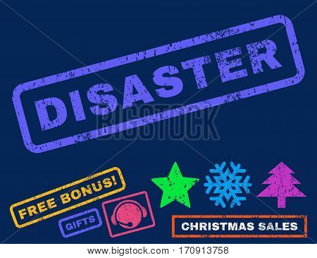 Disaster text rubber seal stamp watermark with bonus christmas symbols. Tag inside rectangular banner with grunge design and dust texture.