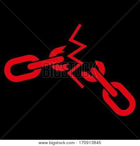 Broken Chain vector icon. Flat red symbol. Pictogram is isolated on a black background. Designed for web and software interfaces.