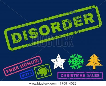 Disorder text rubber seal stamp watermark with bonus new year symbols. Caption inside rectangular banner with grunge design and dirty texture.