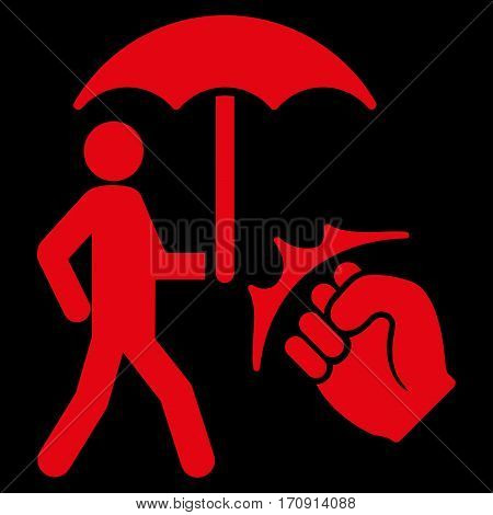Crime Coverage vector icon. Flat red symbol. Pictogram is isolated on a black background. Designed for web and software interfaces.
