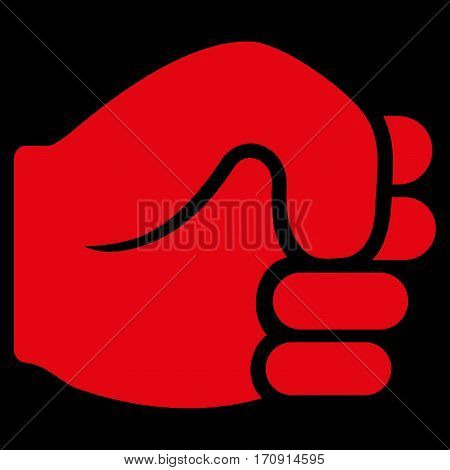 Fist vector icon. Flat red symbol. Pictogram is isolated on a black background. Designed for web and software interfaces.
