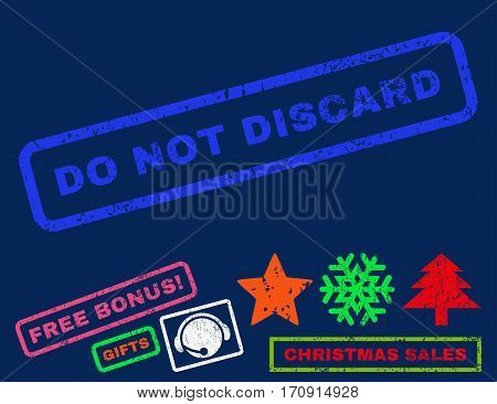 Do Not Discard text rubber seal stamp watermark with bonus christmas symbols. Tag inside rectangular shape with grunge design and dust texture.