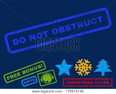 Do Not Obstruct text rubber seal stamp watermark with bonus christmas symbols. Caption inside rectangular shape with grunge design and dirty texture.