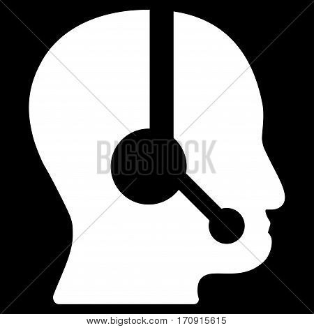 Call Center Operator vector icon. Flat white symbol. Pictogram is isolated on a black background. Designed for web and software interfaces.