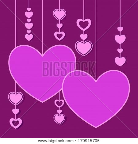 Vector stock of a valentines background with hanging love and heart shape