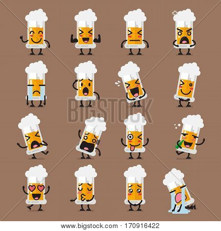 Glass of beer character emoji set. Funny cartoon emoticons