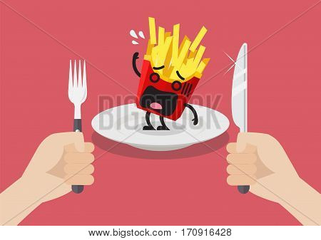 Man prepare to eat scared french fries. Vector illustration