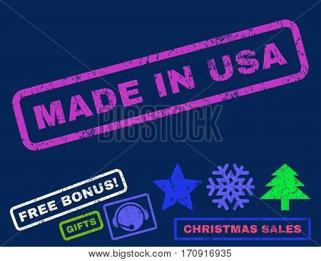 Made In USA text rubber seal stamp watermark with additional bonus new year symbols. Tag inside rectangular banner with grunge design and dust texture.