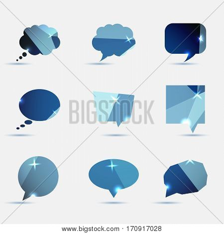 Set of blue polygonal geometric speech bubble, stock vector