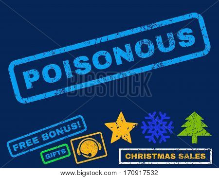 Poisonous text rubber seal stamp watermark with additional bonus new year symbols. Caption inside rectangular shape with grunge design and unclean texture.