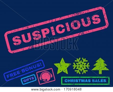 Suspicious text rubber seal stamp watermark with additional bonus christmas symbols. Caption inside rectangular banner with grunge design and scratched texture.