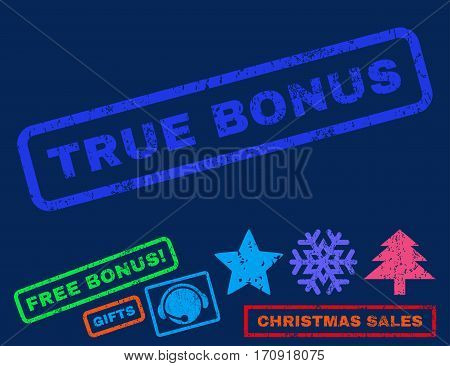 True Bonus text rubber seal stamp watermark with additional bonus new year symbols. Tag inside rectangular banner with grunge design and dirty texture.