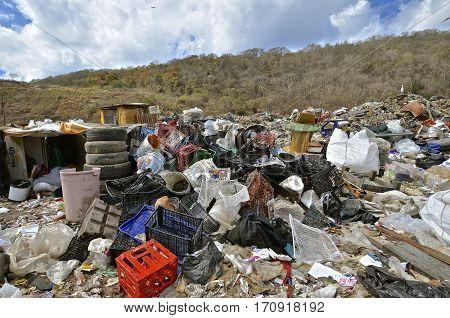 MAZATLAN, JANUARY 30, 2017: Garbage, debris, and refuse fill a landfill at the city dump in  Mazatlan.