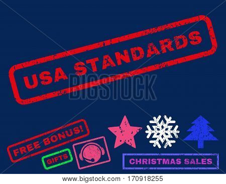 USA Standards text rubber seal stamp watermark with bonus new year symbols. Caption inside rectangular banner with grunge design and dirty texture.