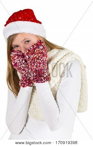 Young girl with white shirt red winter cap and wooly gloves isolated on white background