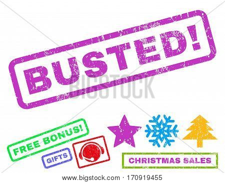 Busted text rubber seal stamp watermark with additional bonus new year symbols. Tag inside rectangular shape with grunge design and dirty texture.