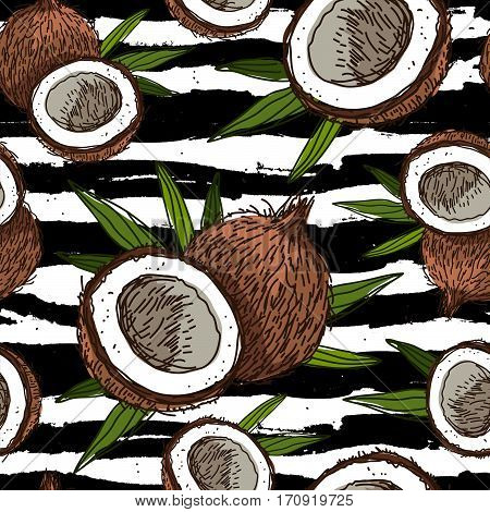 Seamless vector pattern of coconuts on a striped black and white. Paradise fruit. Summertime concept. Wrapping paper