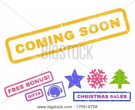 Coming Soon text rubber seal stamp watermark with bonus new year symbols. Tag inside rectangular shape with grunge design and dust texture.