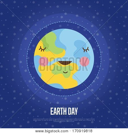 Earth Day cartoon banner. Smiling planer Earth surrounded ozone shield vector illustration on starry blue background.