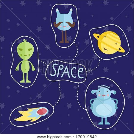 Space concept in cartoon style. Smiling planet Saturn, funny aliens, fiery comet or meteorite vector icons set isolated on blue starry background. Astronomic illustration for childrens book design