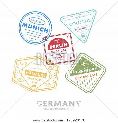 Germany travel visa stamps vector isolated on white background. Arrivals sign rubber stamps. Munich, Cologne, Berlin, Hamburg, Frankfurt city sign.