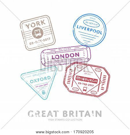 Great Britain travel visa stamps vector isolated on white background. Arrivals sign rubber stamps. York, Liverpool, London, Edinburgh, Oxford cities sign.