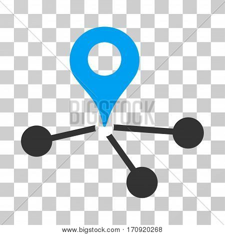 Geo Network icon. Vector illustration style is flat iconic bicolor symbol blue and gray colors transparent background. Designed for web and software interfaces.