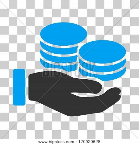 Salary Hand icon. Vector illustration style is flat iconic bicolor symbol blue and gray colors transparent background. Designed for web and software interfaces.