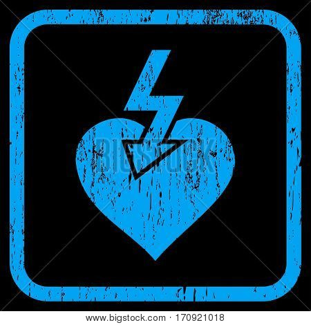 Heart Shock Strike rubber watermark. Vector pictogram symbol inside rounded rectangle with grunge design and unclean texture. Stamp seal illustration. Unclean blue ink sticker on a black background.