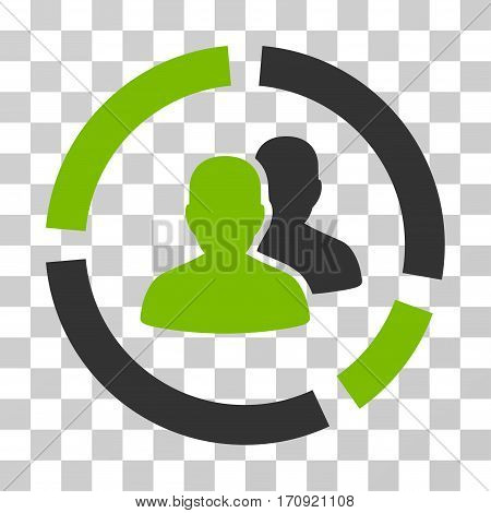 Demography Diagram icon. Vector illustration style is flat iconic bicolor symbol eco green and gray colors transparent background. Designed for web and software interfaces.