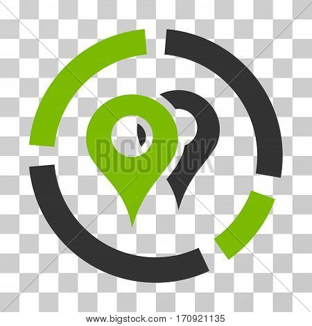 Geo Diagram icon. Vector illustration style is flat iconic bicolor symbol eco green and gray colors transparent background. Designed for web and software interfaces.