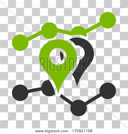 Geo Trends icon. Vector illustration style is flat iconic bicolor symbol eco green and gray colors transparent background. Designed for web and software interfaces.
