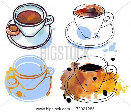 A set of freehand vector and watercolour drawings of coffee cups with textures