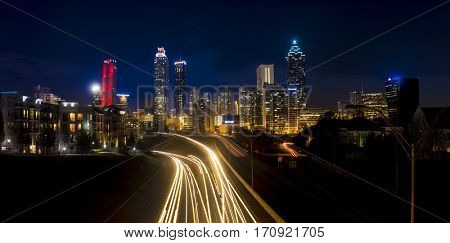 night panorama of downtown Atlanta, Georgia