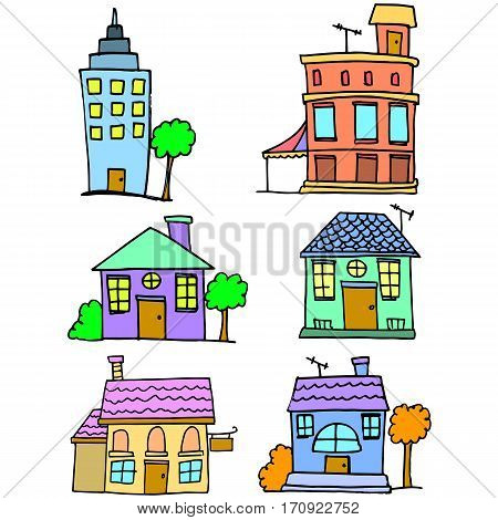 Doodle of house set collection stock vector art