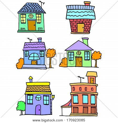 Doodle of house set vector art collection stock