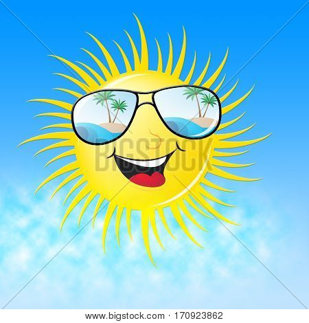 Summer Sun Smiling Shows Heat And Warmth