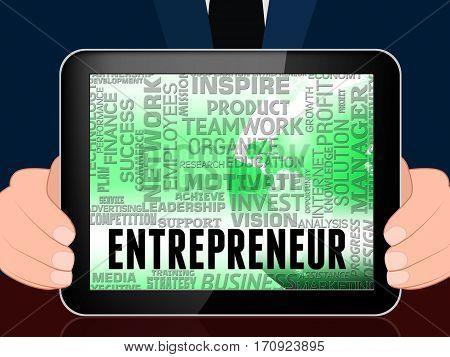 Entrepreneur Words Means Business Person 3D Illustration