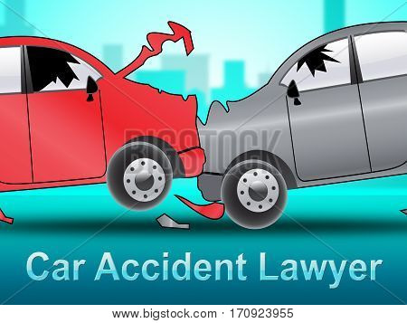 Car Accident Lawyer Showing Auto Solicitor 3D Illustration
