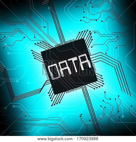 Data Cpu Shows Database Files 3D Illustration