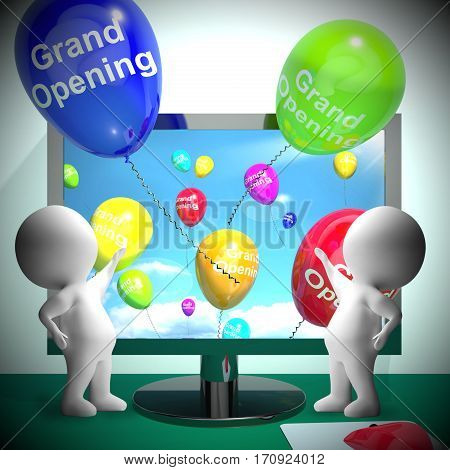 Grand Opening Balloons Showing Store Launch 3D Rendering